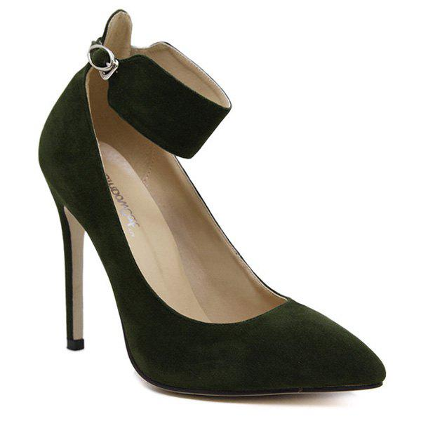 Affordable Ankle Strap Flock Pointed Toe Pumps