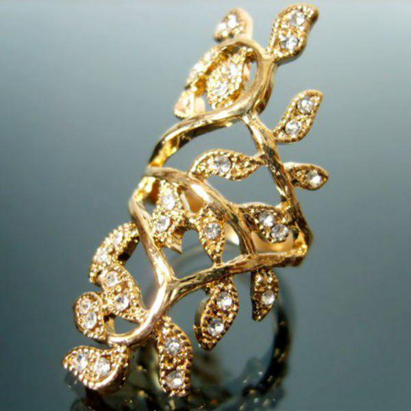 Rhinestone Leaf Hollow Out Full Finger RingJEWELRY<br><br>Size: ONE-SIZE; Color: GOLDEN; Gender: For Women; Metal Type: Others; Style: Noble and Elegant; Shape/Pattern: Plant; Diameter: 17MM; Weight: 0.023kg; Package Contents: 1 x Ring;
