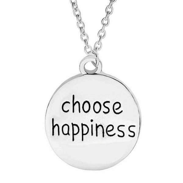 Engraved Choose Happiness Round Friendship NecklaceJEWELRY<br><br>Color: SILVER; Item Type: Pendant Necklace; Gender: For Women; Style: Trendy; Shape/Pattern: Letter; Weight: 0.034kg; Package Contents: 1 x Necklace;