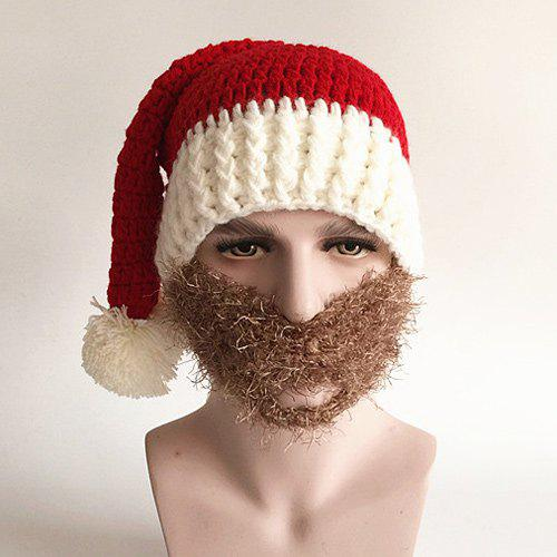 Christmas Knitted Faux Beard Face HatACCESSORIES<br><br>Color: RED; Hat Type: Skullies Beanie; Group: Adult; Gender: For Men; Style: Novelty; Pattern Type: Patchwork; Material: Acrylic; Circumference (CM): 57CM; Weight: 0.137kg; Package Contents: 1 x Hat;