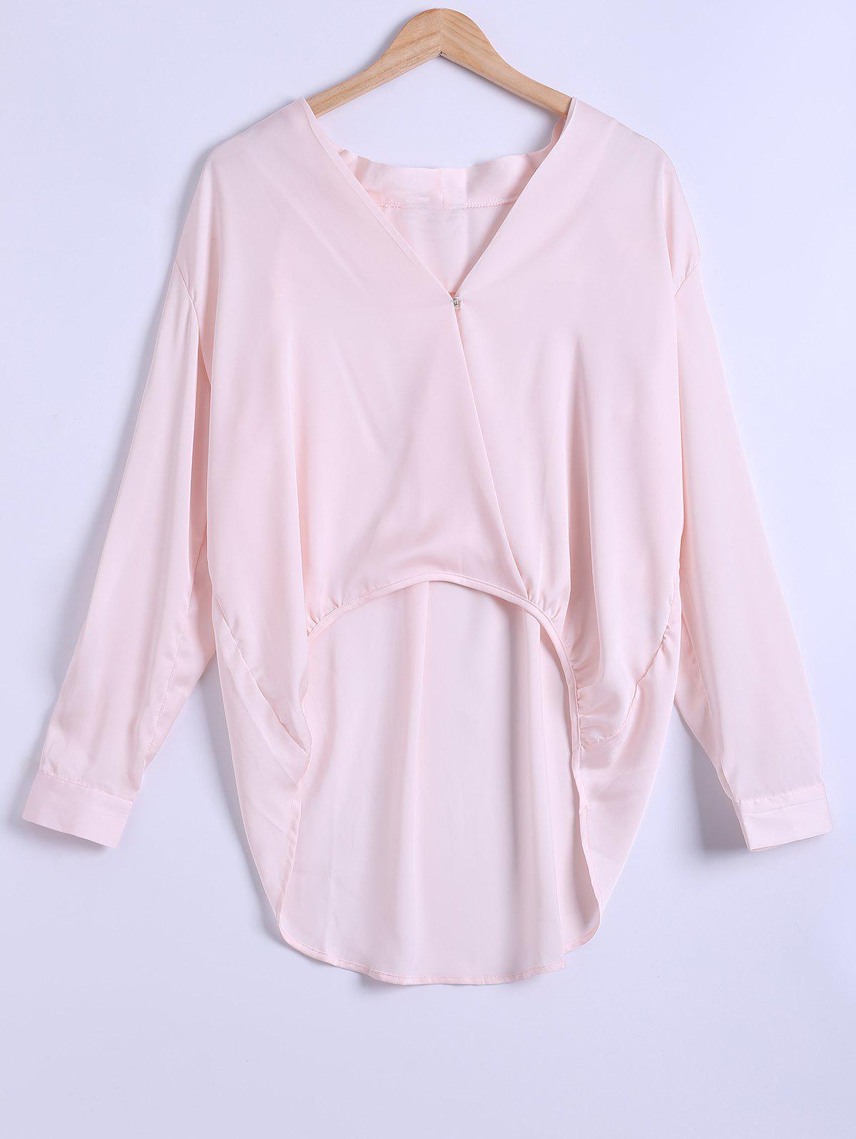 Chic Plung Neck Long Sleeve Chiffon High Low Blouse