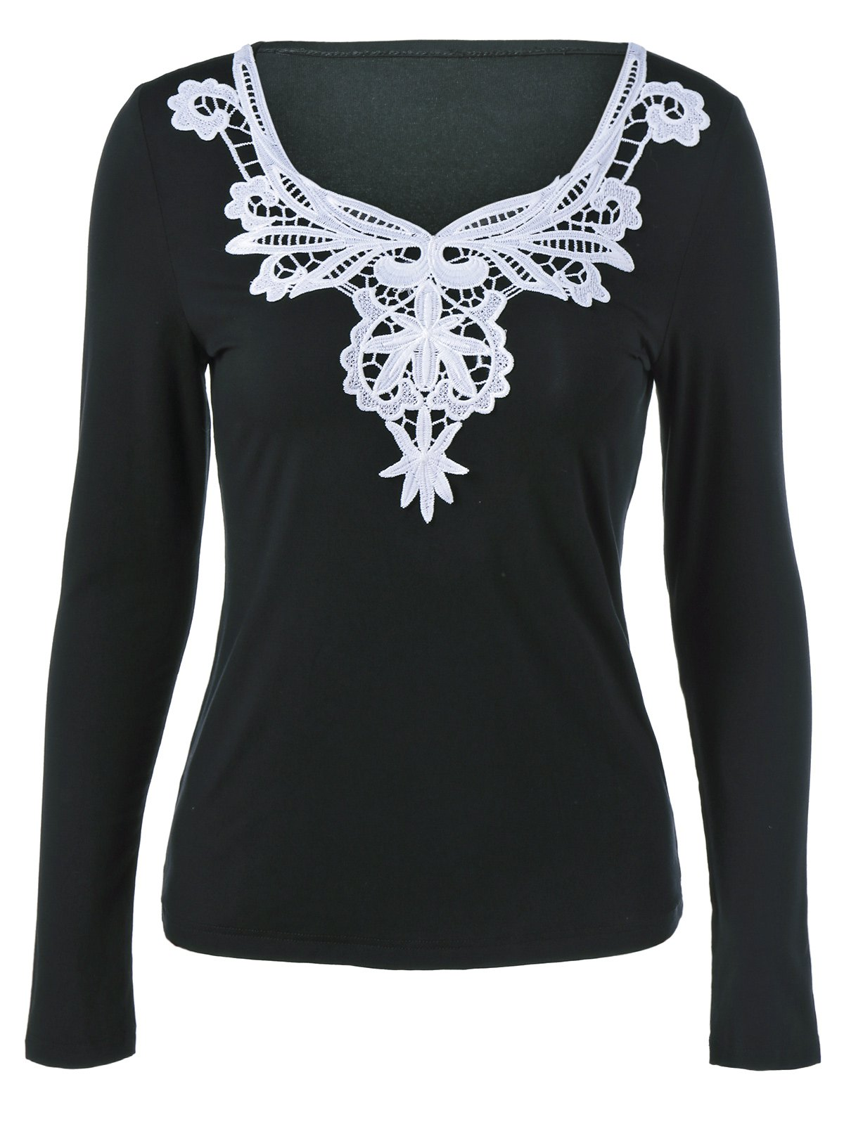 Fancy Lace Splicing Long Sleeve Blouse
