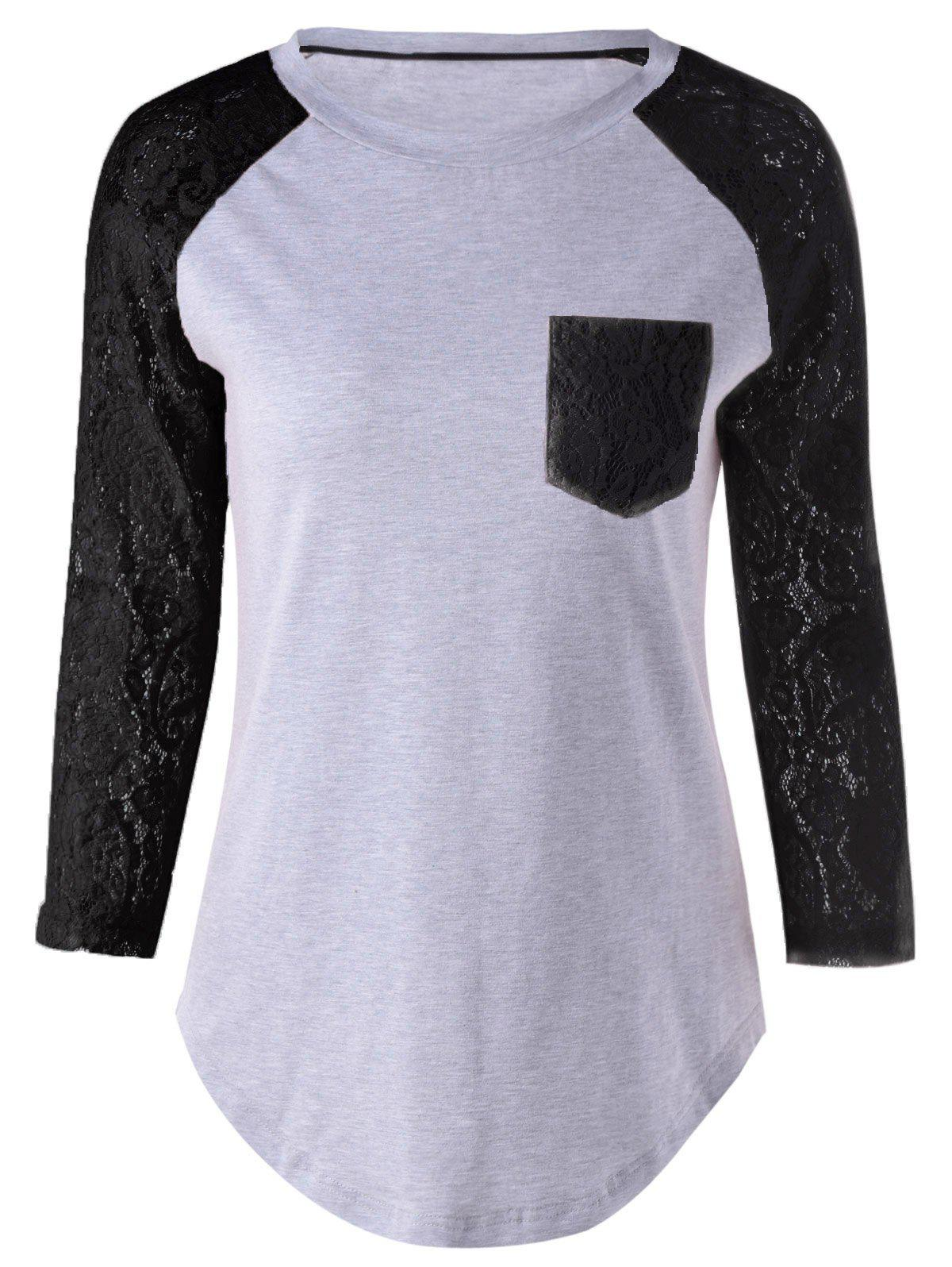 Plus Size Lace Splicing Single Pocket T-ShirtWOMEN<br><br>Size: XL; Color: BLACK; Material: Rayon; Shirt Length: Long; Sleeve Length: Full; Collar: Scoop Neck; Style: Casual; Season: Fall,Spring,Summer; Pattern Type: Floral; Weight: 0.205kg; Package Contents: 1 x T-Shirt;