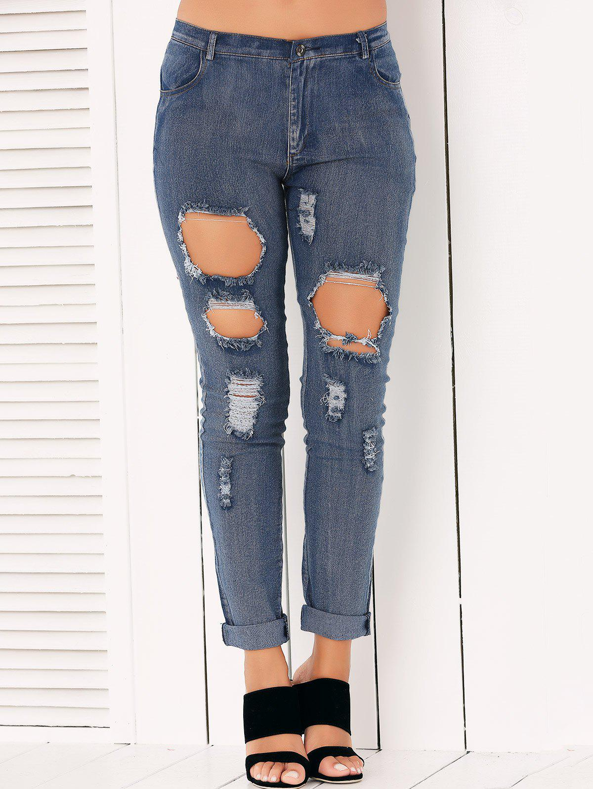Buy Button Fly Ripped Pencil Jeans