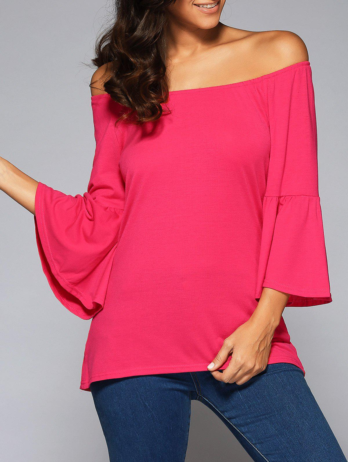 Affordable Flare Sleeve High Low Blouse