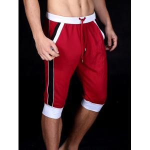 Lace-Up Color Block Splicing Design Sport Cropped Joggers - Red - 2xl