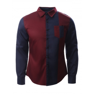 Color Block Splicing Design Turn-Down Collar Long Sleeve Shirt
