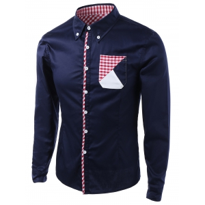 Gingham Splicing Design Turn-Down Collar Long Sleeve Shirt - Cadetblue - S