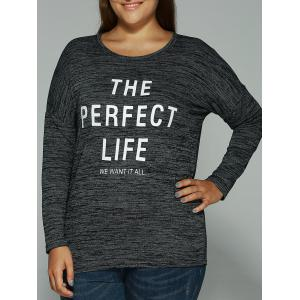 Long Sleeves Heathered Graphic T-Shirt - Black - Xl