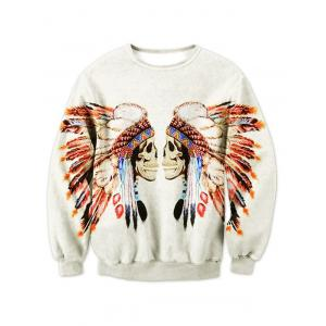 Crew Neck Tribal Skull Printed Sweatshirt