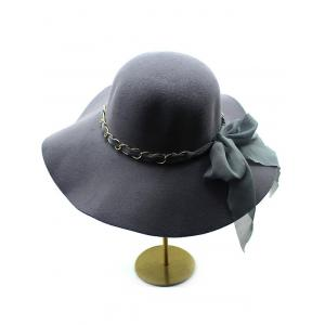Bowknot Floppy Wool Fedora Hat