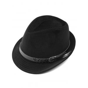Pure Color Embellished Flanging Pin Buckle Belt Fedora Hat - Black - 39