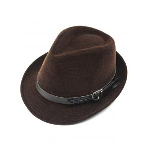 Pure Color Embellished Flanging Pin Buckle Belt Fedora Hat - Coffee