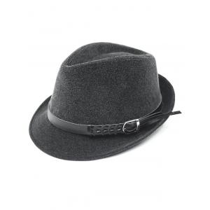 Pure Color Embellished Flanging Pin Buckle Belt Fedora Hat