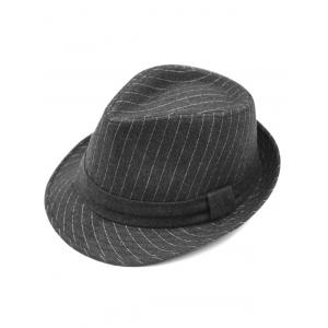 Pure Color Striped Belt Wool Fedora Hat