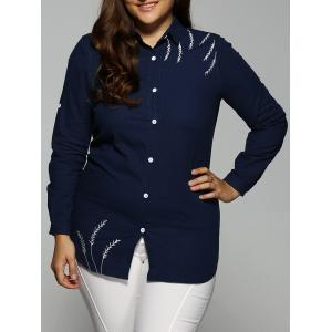 Embroidered Button Down Long Blouse - Cadetblue - 2xl