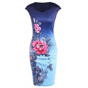 Cape Sleeve Tie Dye Floral Print Fitted Dress - Deep Blue - S