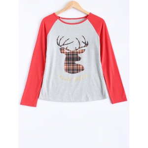 Cute Long Sleeve Christmas Deer Print Raglan T-Shirt - Light Gray - M