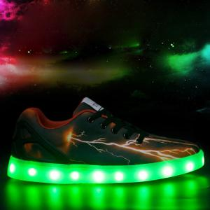 Led Luminous Lightning Pattern Lights Up Casual Shoes - Deep Brown - 40