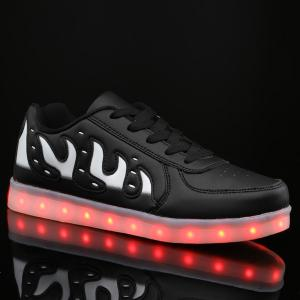 Lights Up Led Luminous Color Block Casual Shoes - Black - 44