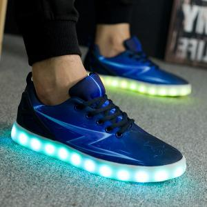 Lights Up Led Luminous Lightning Print Casual Shoes - Blue - 40