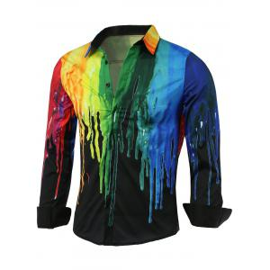 Colorful Paint Dripping Print Covered Button Front Long Sleeve Shirt - Black - L