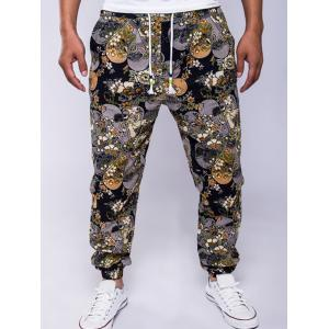 Cotton+Linen Flowers Print Drawstring Jogger Pants - Colormix - M