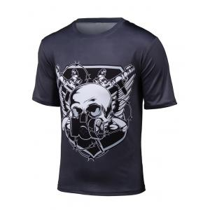 3D Gas Mask Skull Print Short Sleeve T-Shirt - Black - 2xl