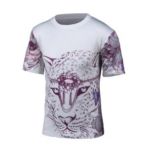 Round Neck 3D Leopard and Floral Print Short Sleeve T-Shirt