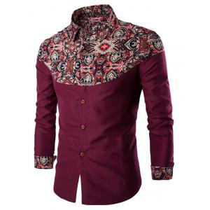 Ethnic Style Pattern Spliced Turn-Down Collar Long Sleeve Shirt