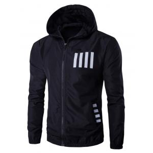 Hooded Number and Stripe Print Zip-Up Polyester Jacket - Black - 2xl