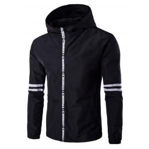 Hooded Letter Edging Zip-Up Varsity Stripe Jacket - Black - M