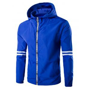 Hooded Letter Edging Zip-Up Varsity Stripe Jacket