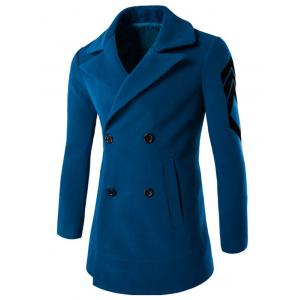 Turn-Down Collar Embroidery Double-Breasted Woolen Coat - Lake Blue - M