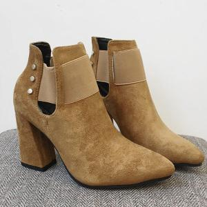 Suede Pointed Toe Cut Out Ankle Boots