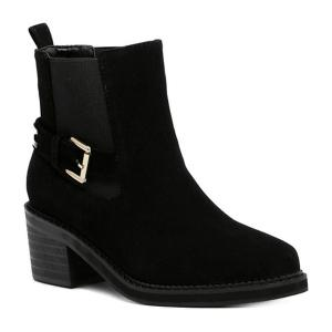Elastic Band Pointed Toe Short Boots - Black - 38