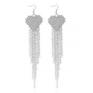 Rhinestone Tassel Chains Heart Earrings - Silver - One-size