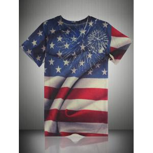 Distressed American Flag Print V Neck T-Shirt - Colormix - 4xl