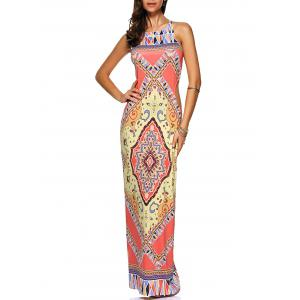 Criss Cross Cut Out Maxi Printed Dress