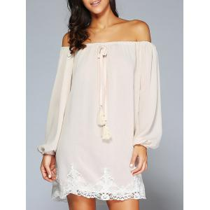 Off The Shoulder Patched Long Sleeve Cream Casual Dress
