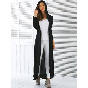 Hooded Maxi Long Duster Cardigan - Black - L