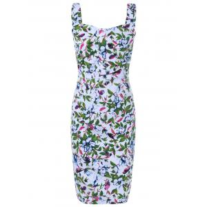 Vintage Style Floral Print Pencil Dress