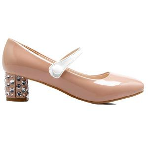 Sequins Cover Heel Color Block Pumps - Nude - 39