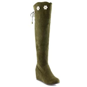 Flower Embellished Lace Up Knee Length Boots - Army Green - 37