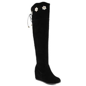 Flower Embellished Lace Up Knee Length Boots