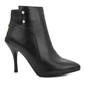 Metallic Point Toe Stiletto Heel Ankle Boots