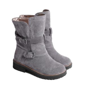 Buckle Slip On Suede Flat Ankle Boots - Gray - 39