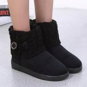 Suede Button Cable Knitted Snow Boots - Black - 37