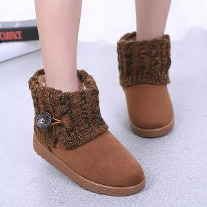 Suede Button Cable Knitted Snow Boots - Brown - 41