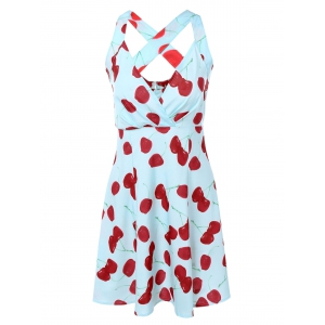 Vintage Plunging Neck Criss Back Cherry Print Dress